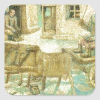 Oxen. Scene from the Life of Savages Pavel Filonov Square Sticker