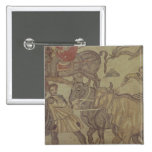 Oxen transporting water, Roman mosaic 2 Inch Square Button