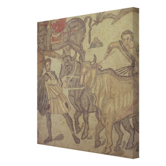 Oxen transporting water, Roman mosaic Stretched Canvas Print