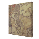 Oxen transporting water, Roman mosaic Canvas Print