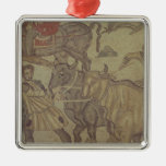 Oxen transporting water, Roman mosaic Square Metal Christmas Ornament
