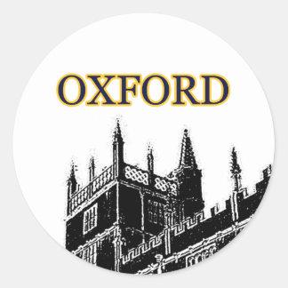 Oxford England 1986 Building Spirals Black Classic Round Sticker