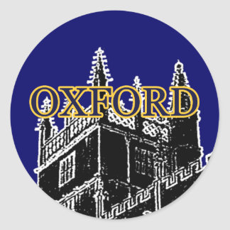 Oxford England 1986 Building Spirals Black jGibney Classic Round Sticker