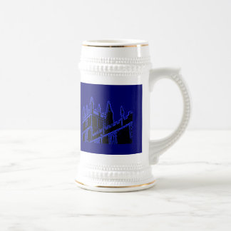 Oxford England 1986 Building Spirals Blue Mugs