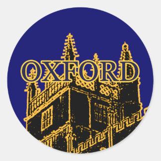 Oxford England 1986 Building Spirals Brown Classic Round Sticker