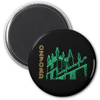Oxford England 1986 Building Spirals Green 2 Inch Round Magnet