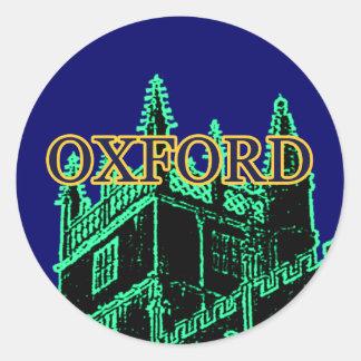 Oxford England 1986 Building Spirals Green Classic Round Sticker