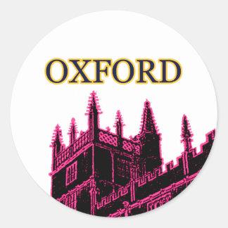 Oxford England 1986 Building Spirals Magenta Classic Round Sticker