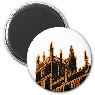 Oxford England 1986 Building Spirals Orange 2 Inch Round Magnet