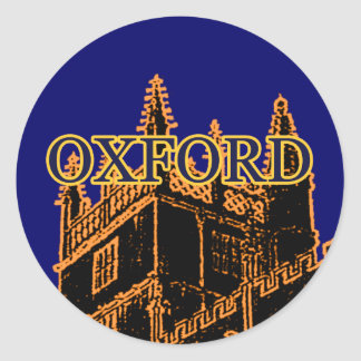 Oxford England 1986 Building Spirals Orange Classic Round Sticker