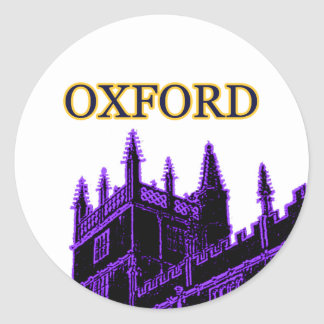 Oxford England 1986 Building Spirals Purple Classic Round Sticker