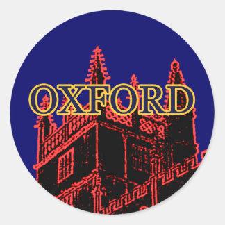 Oxford England 1986 Building Spirals Red Classic Round Sticker