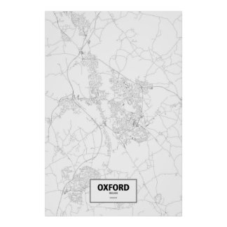 Oxford, England (black on white) Poster