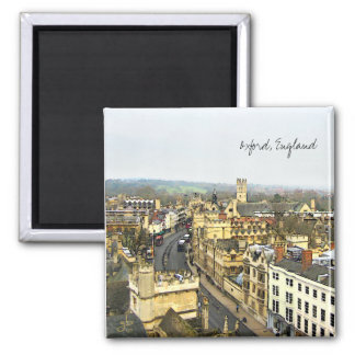 Oxford, England, High St View 2 Inch Square Magnet