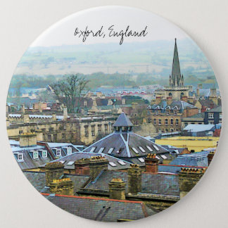 Oxford, England, Roof Top View Pinback Button