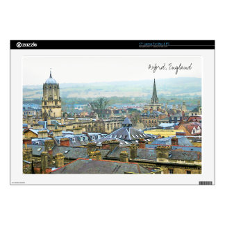 """Oxford, England, Roof Top View 17"""" Laptop Decals"""