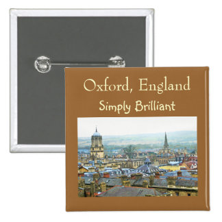 Oxford, England, Roof Tops, Simply Brilliant Pinback Buttons