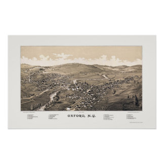 Oxford NY Panoramic Map 1888 Poster