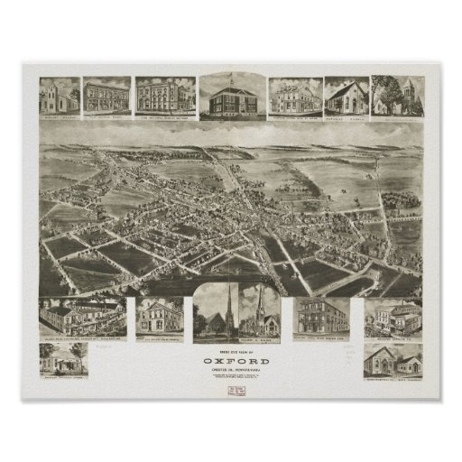 Oxford Pennsylvania 1907 Antique Panoramic Map Poster