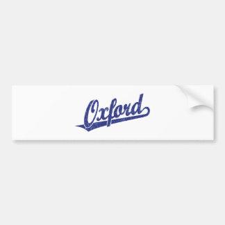 Oxford script logo in blue distressed bumper sticker
