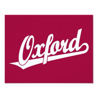 Oxford script logo in white card