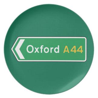 Oxford señal de tráfico BRITÁNICA Plato De Comida