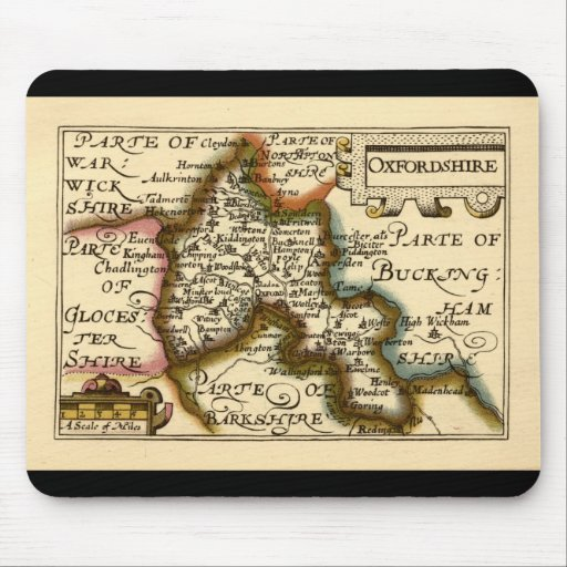 Oxfordshire County Map, England Mouse Pad
