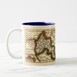 Oxfordshire County Map, England Two-Tone Coffee Mug