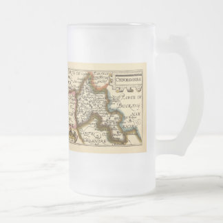 Oxfordshire County Map, England 16 Oz Frosted Glass Beer Mug