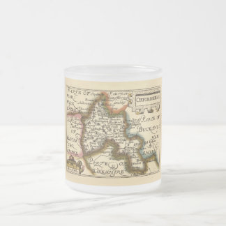 Oxfordshire County Map, England 10 Oz Frosted Glass Coffee Mug