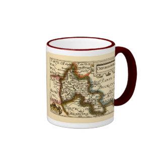 Oxfordshire County Map, England Ringer Coffee Mug