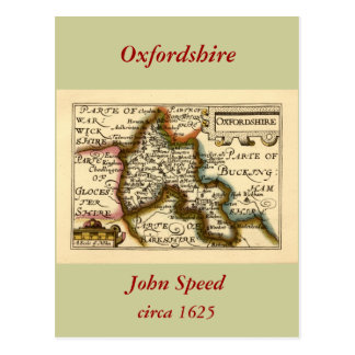 Oxfordshire County Map England Post Card