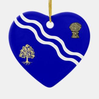 Oxfordshire Flag Heart Christmas Tree Ornaments