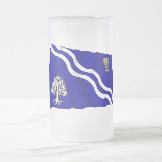 Oxfordshire Waving Flag Frosted Glass Beer Mug