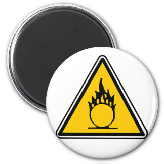 Oxidizing Warning Sign 2 Inch Round Magnet