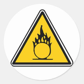Oxidizing Warning Sign Classic Round Sticker