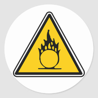 Oxidizing Warning Sign Classic Round Sticker