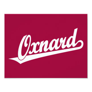 Oxnard script logo in white card