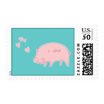 OXOX Pink Piggy Doodle Art Postage