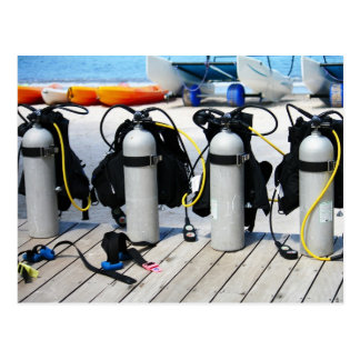 Oxygen Tanks for Scuba Diving in the Caribbean Postcard