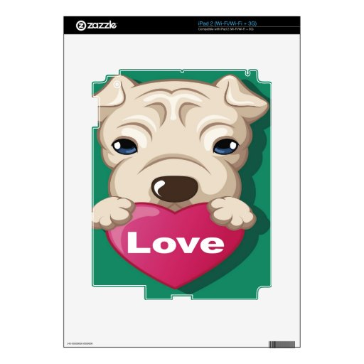 Oxygentees Dog Love iPad 2 Decals