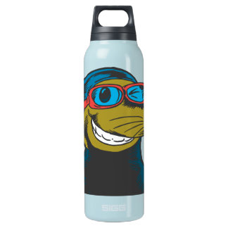 Oxygentees Happy Guy Sea Otter Insulated Water Bottle
