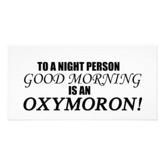 Oxymoron de la buena mañana tarjeta fotografica