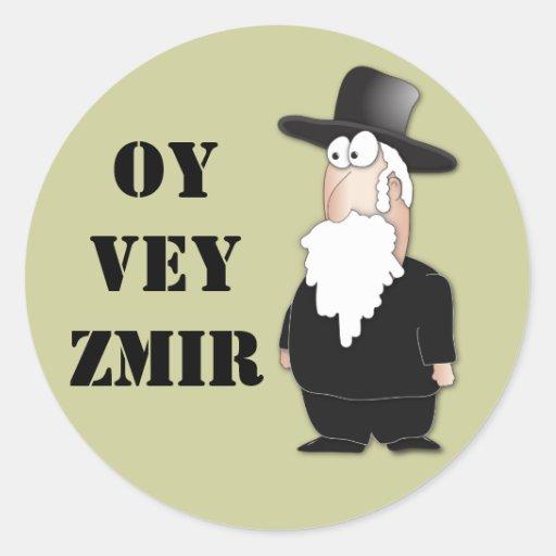 Oy Vey Funny Jewish rabbi - cool cartoon Round Stickers