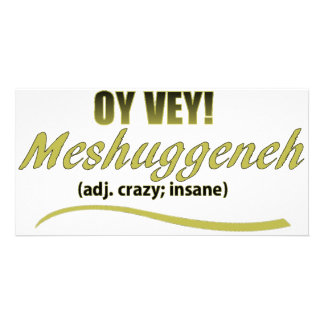 OY VEY PHRASES MESHUGGENEH PICTURE CARD
