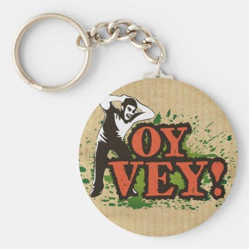 OY VEY - Refresque el diseño con el hombre de grit Llavero Personalizado