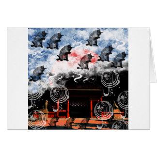 Oyama 祇 shrine and cat card