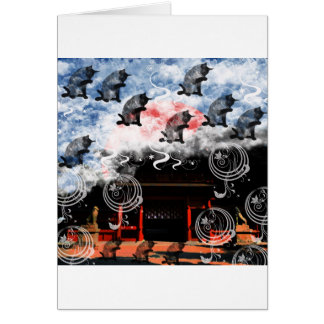 Oyama 祇 shrine and cat greeting cards