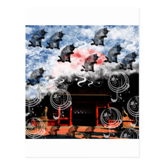 Oyama 祇 shrine and cat post cards