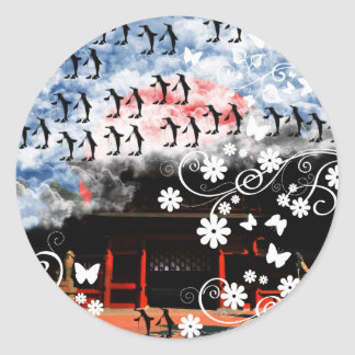 Oyama 祇 shrine and flower and penguin classic round sticker